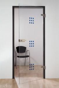 дверь из алюминиевого профиля, полотно - закаленное стекло
